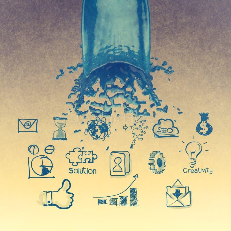 выплеск цвета краски 3D голубые и предпосылка стратегии бизнеса стоковое изображение rf