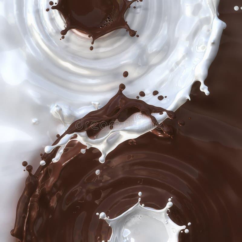 Выплеск шоколада и молока смешивания стоковая фотография rf