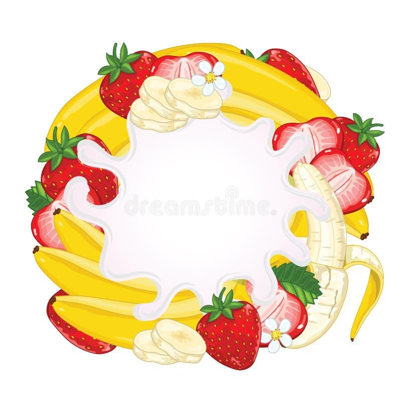 Выплеск югурта изолированный на клубнике и банане бесплатная иллюстрация