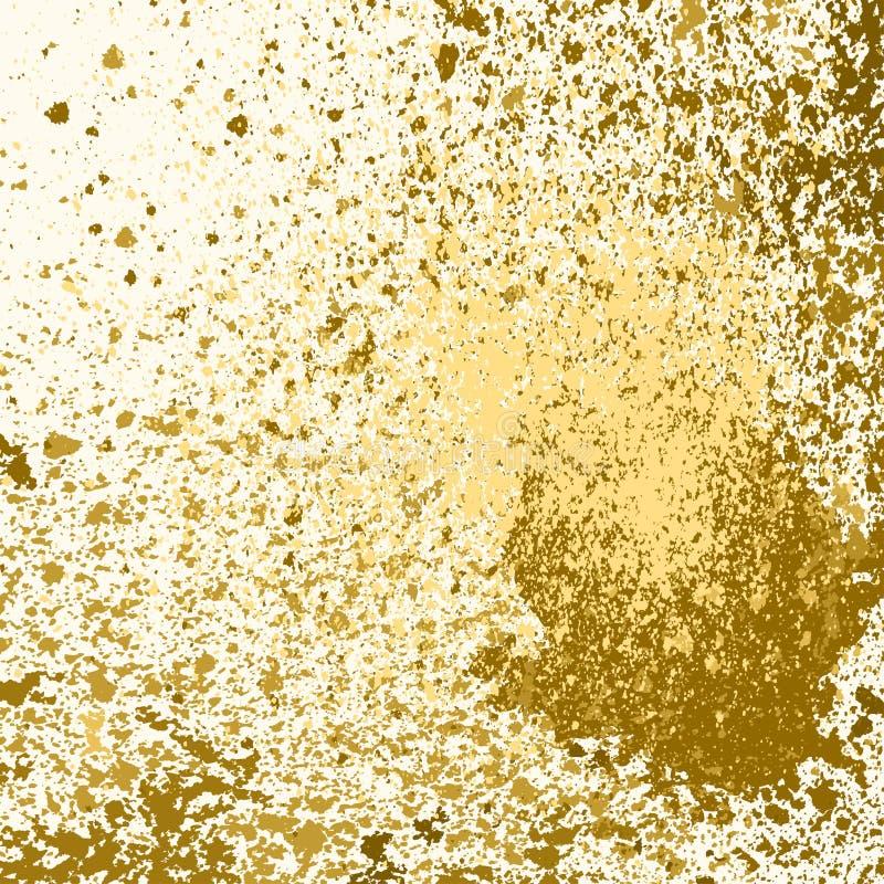Выплеск, splatter, и шарик краски золота вектора на белой предпосылке бесплатная иллюстрация