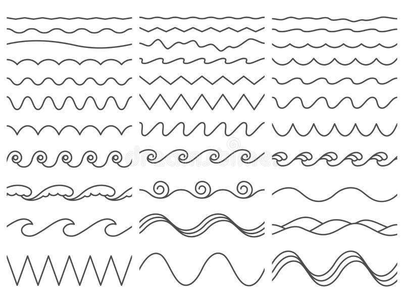 выравнивает волнистое Wiggly граница, изогнутая волна моря и безшовный вздымаясь набор иллюстрации вектора океанских волн иллюстрация вектора
