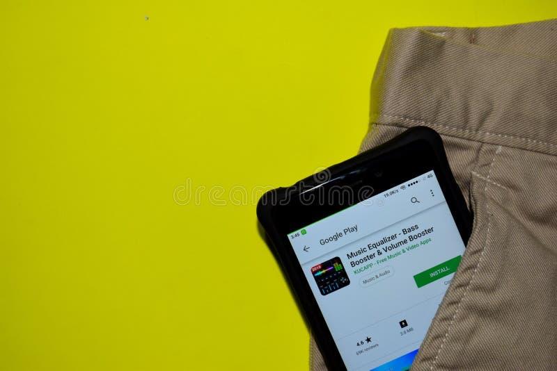 Выравниватель музыки - басовое применение dev ракеты -носителя & ракеты -носителя тома на экране смартфона стоковое фото rf