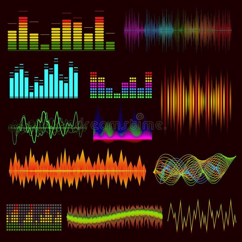 Выравниватель музыки цифров цвета установленный на темную предпосылку вектор иллюстрация штока