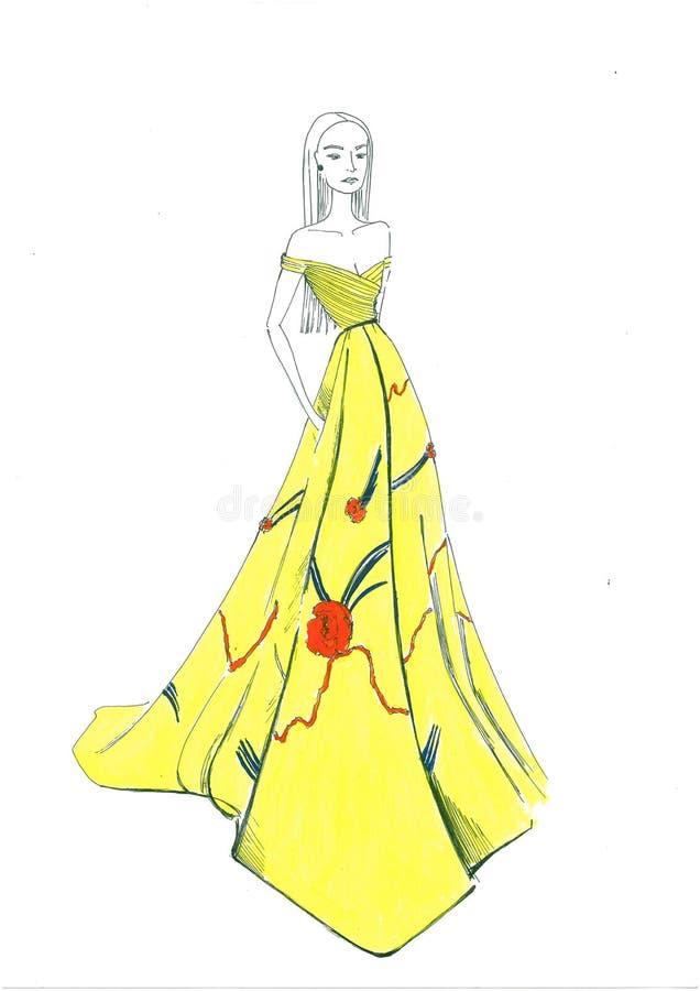 Выравнивать желтое платье стоковая фотография