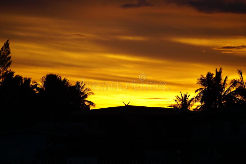 Выравнивать золотое небо около захода солнца стоковое фото rf