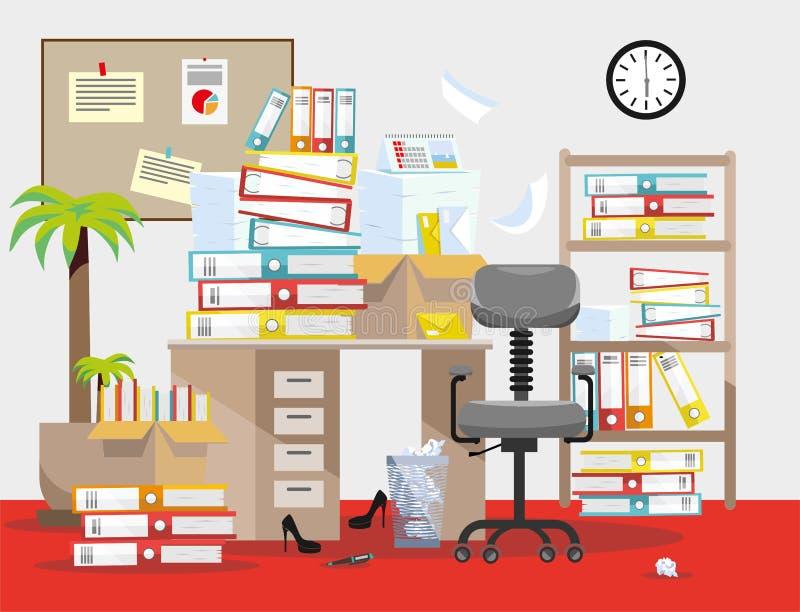 Выравнивать период бухгалтеров и представления отчетах о финансиста Куча печатных документов и папок файла в картонных коробках д бесплатная иллюстрация