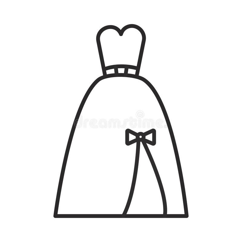 Выравнивающ bridal платье vector линия значок, знак, иллюстрация на предпосылке, editable ходах иллюстрация штока