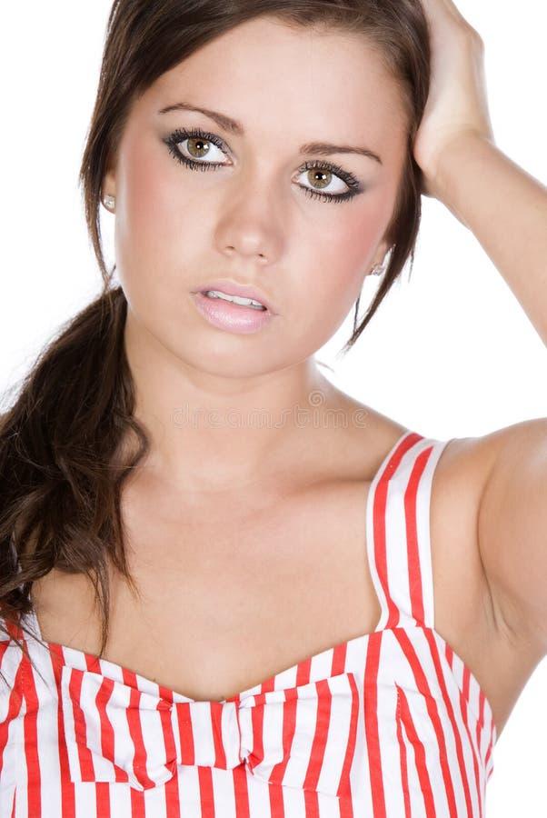 выражение смотрит на ее довольно унылый подросток стоковая фотография rf