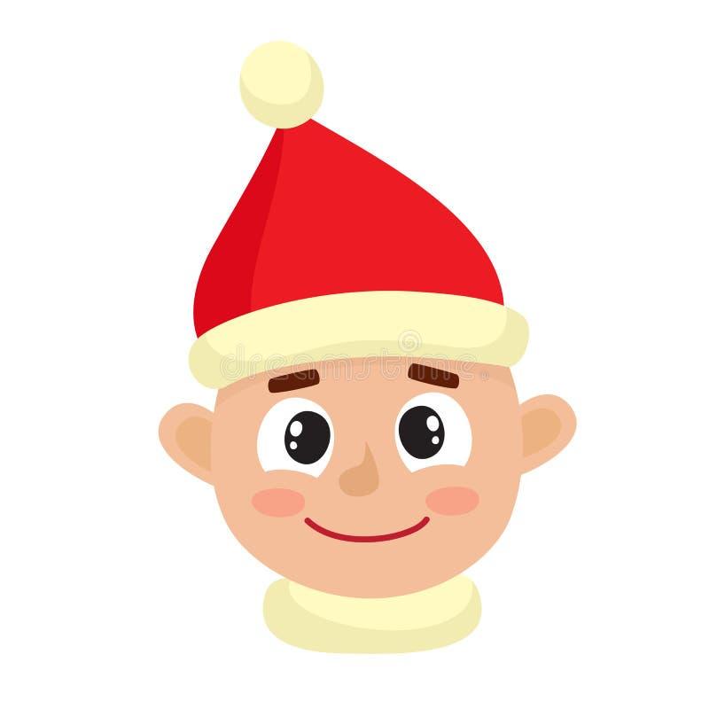 Выражение стороны мальчика счастливое изолированное на белой предпосылке бесплатная иллюстрация