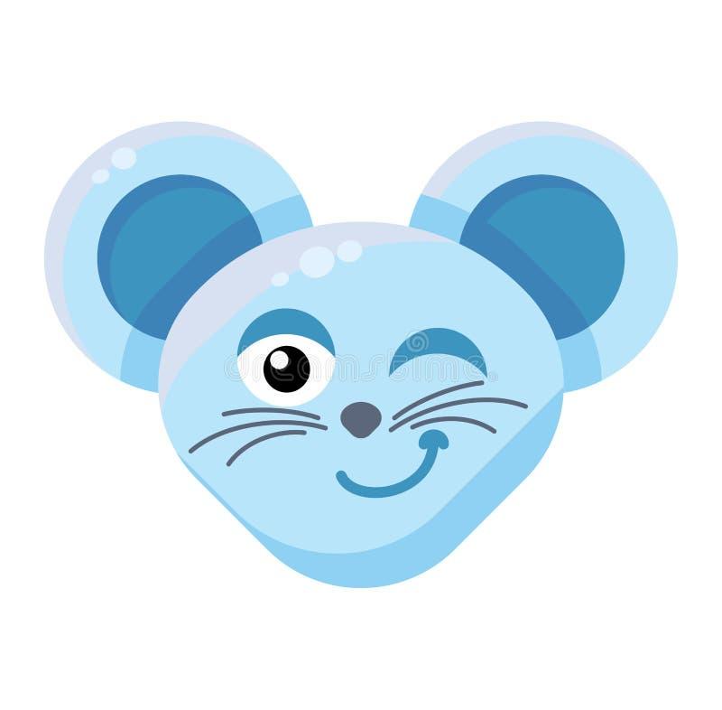 Выражение с подмигиванием мышки Emoji Cute Funny Animal Mouse иллюстрация вектора
