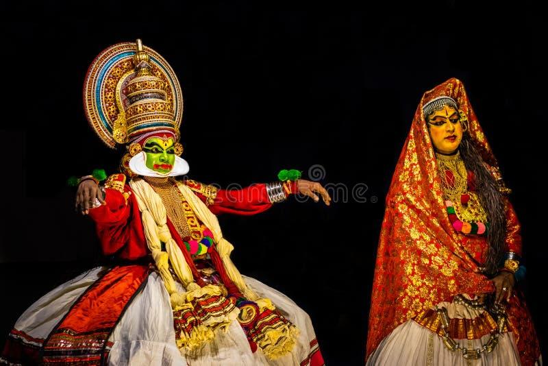 Выражение танца Kathakali Кералы классическое стоковое фото