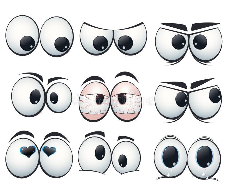 Выражение шаржа наблюдает с различными взглядами бесплатная иллюстрация