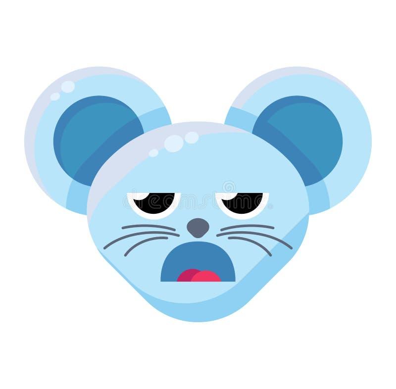 Выражение Emoji Cute Funny Animal Mouse Boring Expression иллюстрация вектора