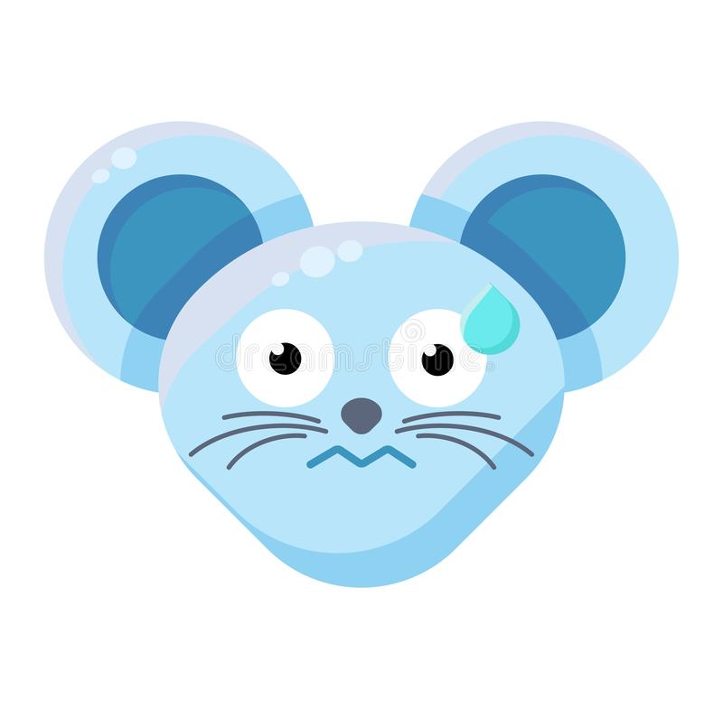 Выражение Emoji Cute Perspirable Animal Mouse иллюстрация вектора