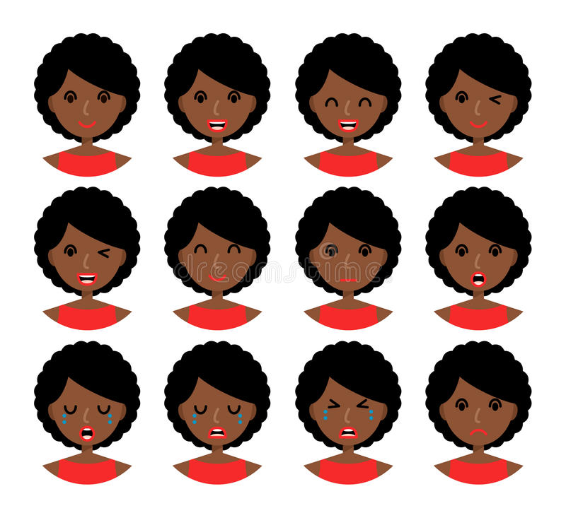 Выражения лица женщины иллюстрация штока