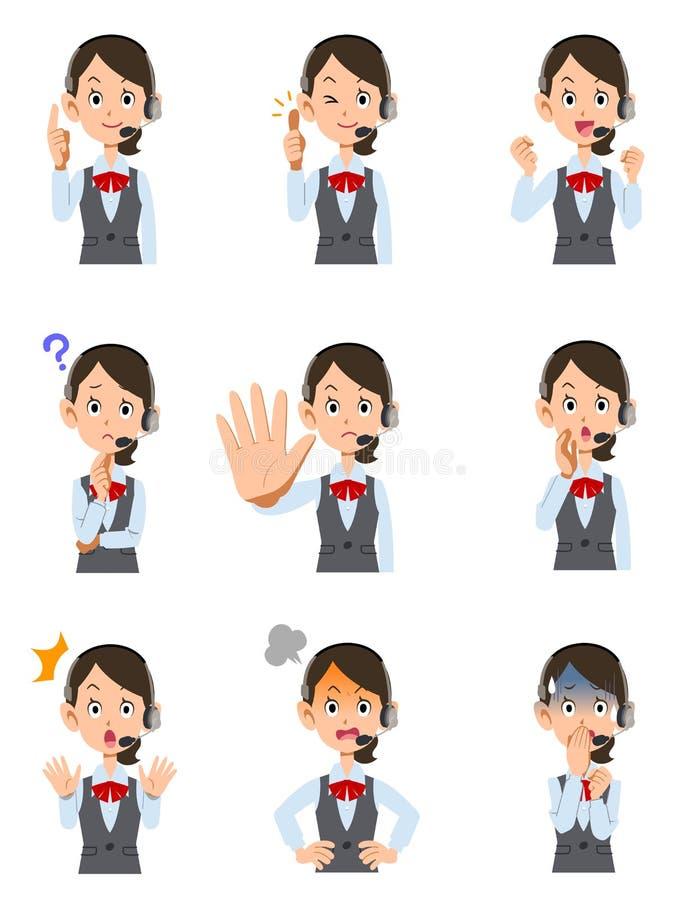 9 выражения лица и жестов женского оператора иллюстрация вектора