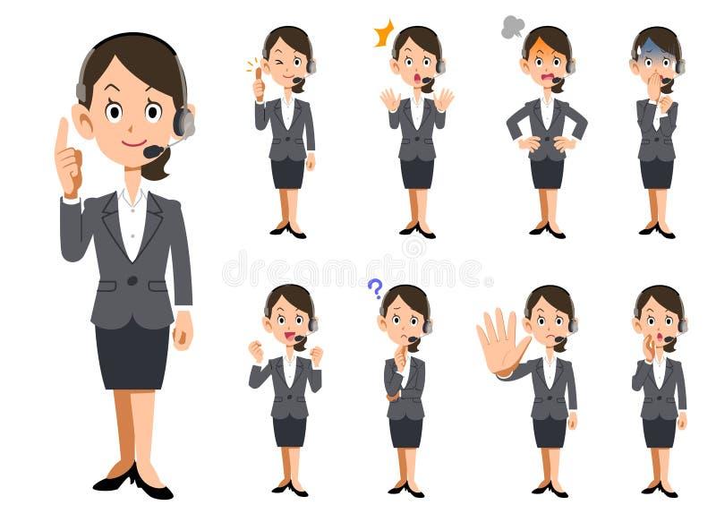 Выражения лица и жесты женских операторов бесплатная иллюстрация