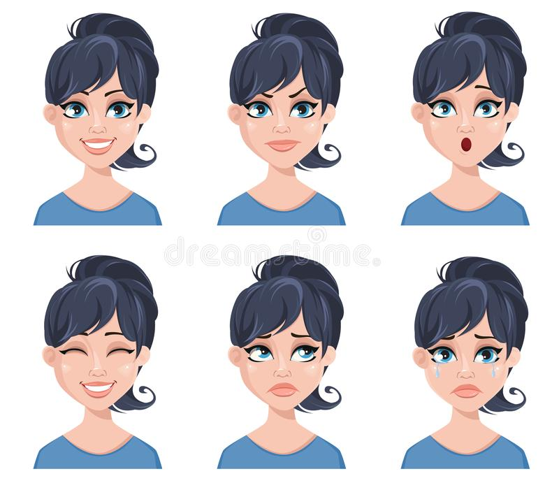 Выражения лица красивой женщины Различные женские установленные эмоции иллюстрация вектора
