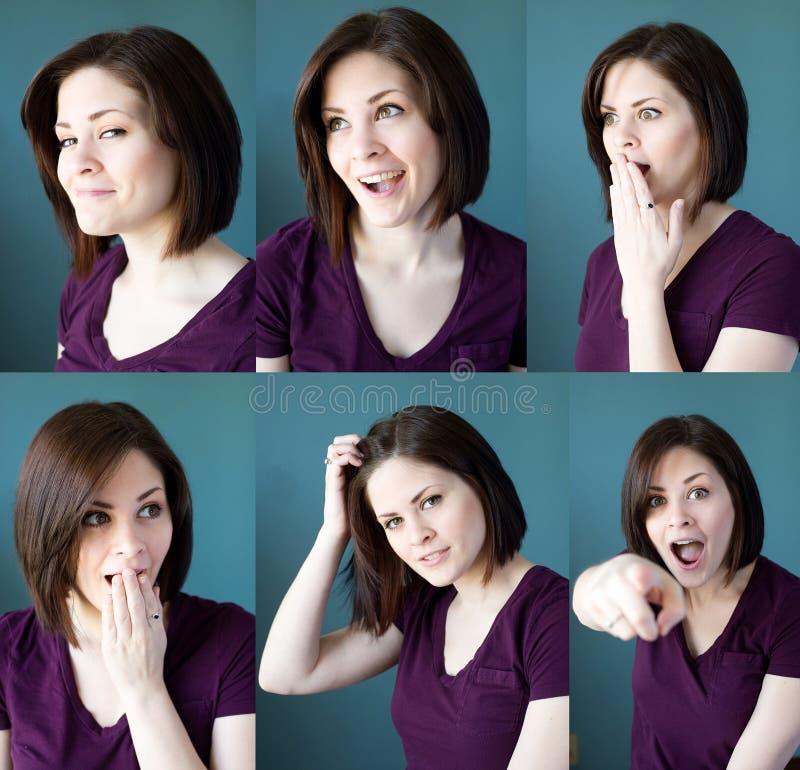 Выражения молодой женщины стоковое фото