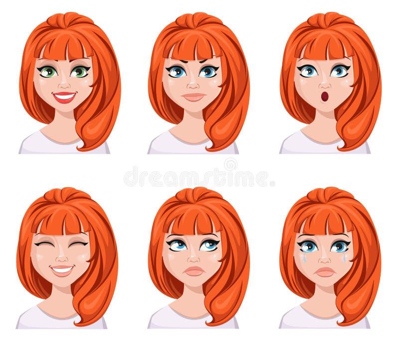 Выражения стороны женщины redhead Различные женские эмоции, иллюстрация штока