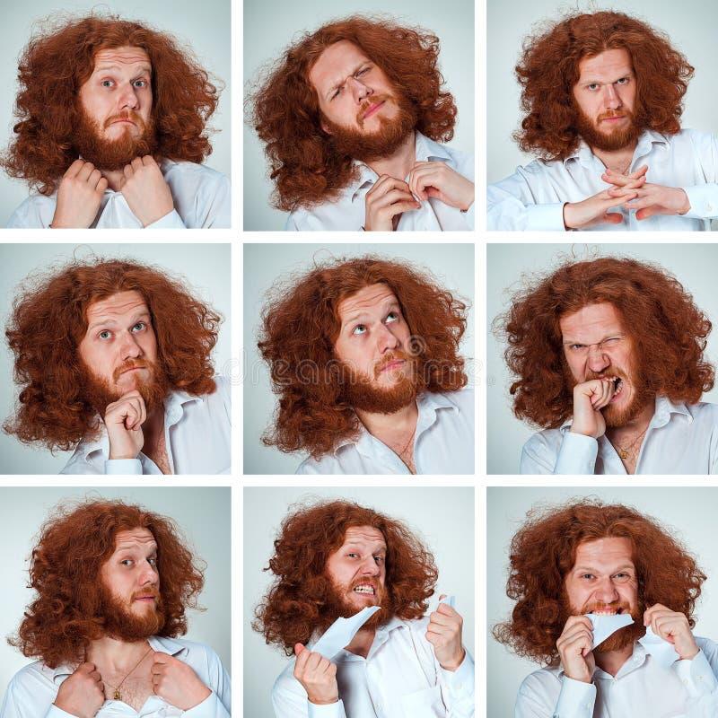 Выражения стороны молодого человека смешные составные на серой предпосылке стоковая фотография rf