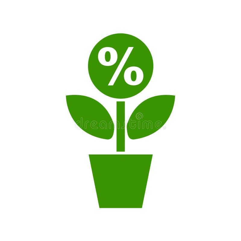 Вырастите дерево денег как процент - вектора иллюстрация вектора