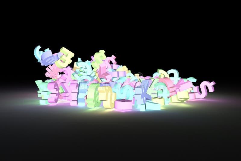 Вырастите или неоновый перевод 3D Оформление CGI, пук sig валюты бесплатная иллюстрация