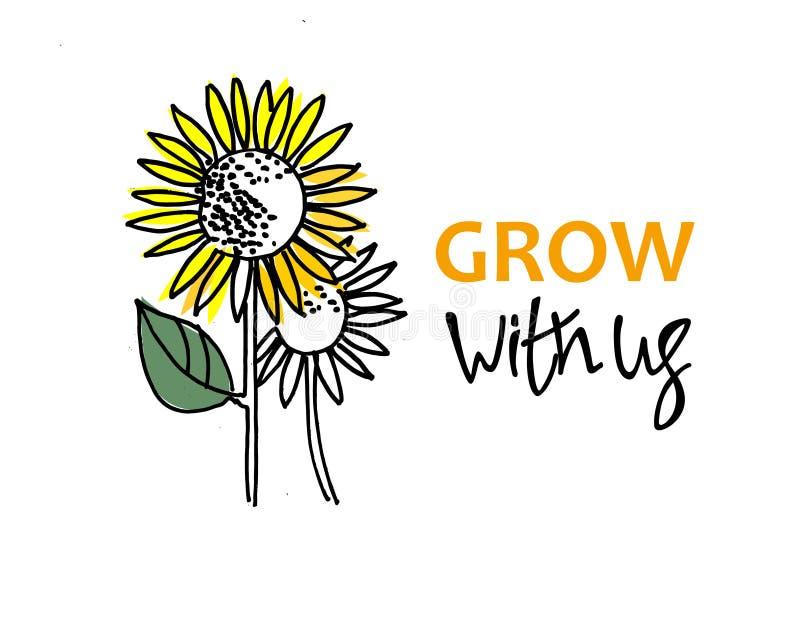 Вырастите с нами Рекрутство, teambuilding и личная концепция роста Солнцецветы и литерность руки o иллюстрация вектора