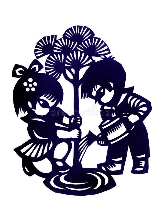 Вырезывание детей традиционного китайския бумажное стоковое фото rf