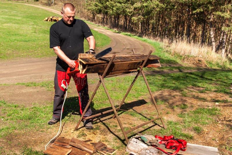 Вырезывание человека с электрической цепной пилой Работа на ферме Деревянная подготовка для нагревать Woodcutter работает с пилой стоковые изображения