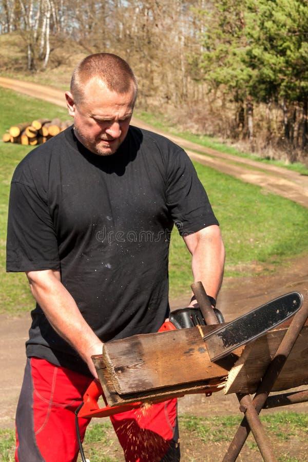 Вырезывание человека с электрической цепной пилой Работа на ферме Деревянная подготовка для нагревать Woodcutter работает с пилой стоковая фотография