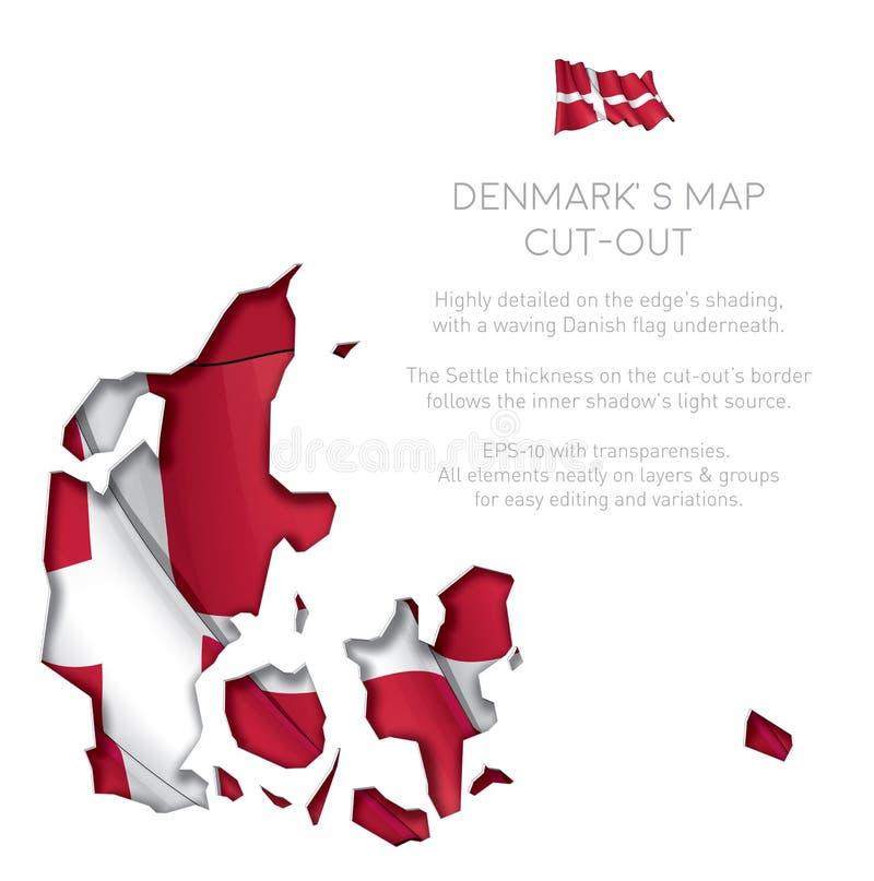 Вырез карты Дании с развевая флагом иллюстрация вектора