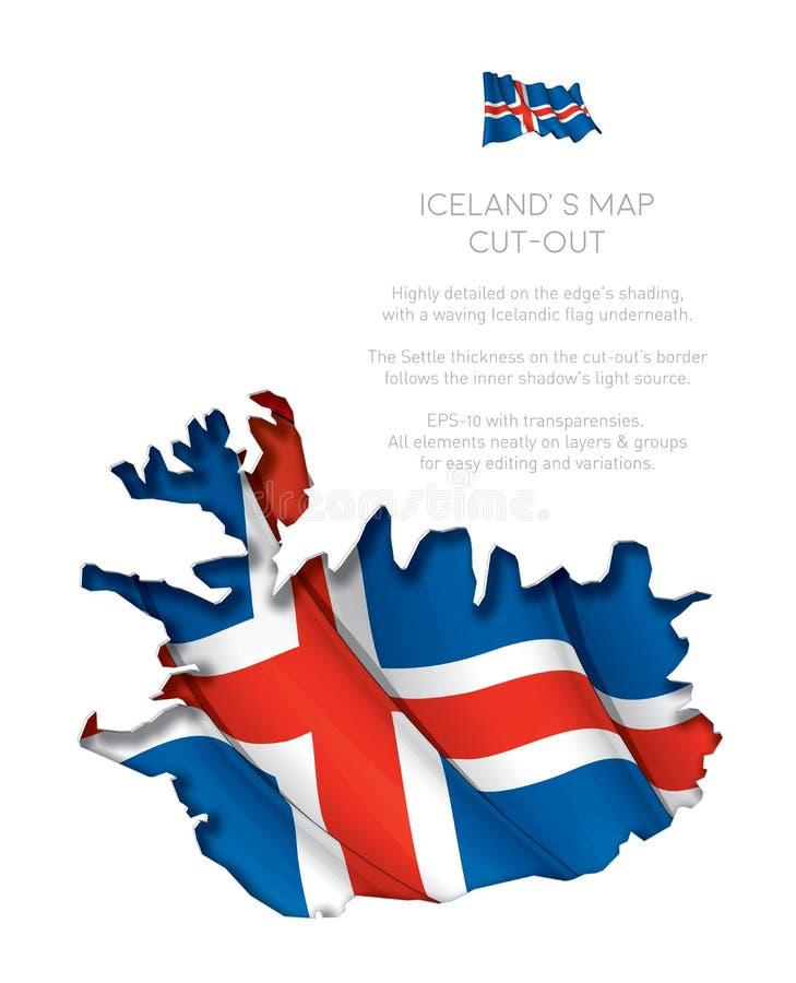 Вырез карты Исландии с развевая флагом бесплатная иллюстрация