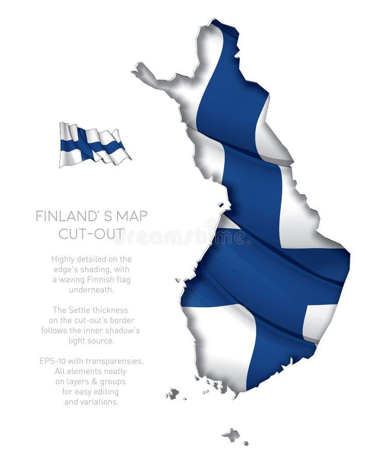 Вырез карты Финляндии с развевая флагом бесплатная иллюстрация