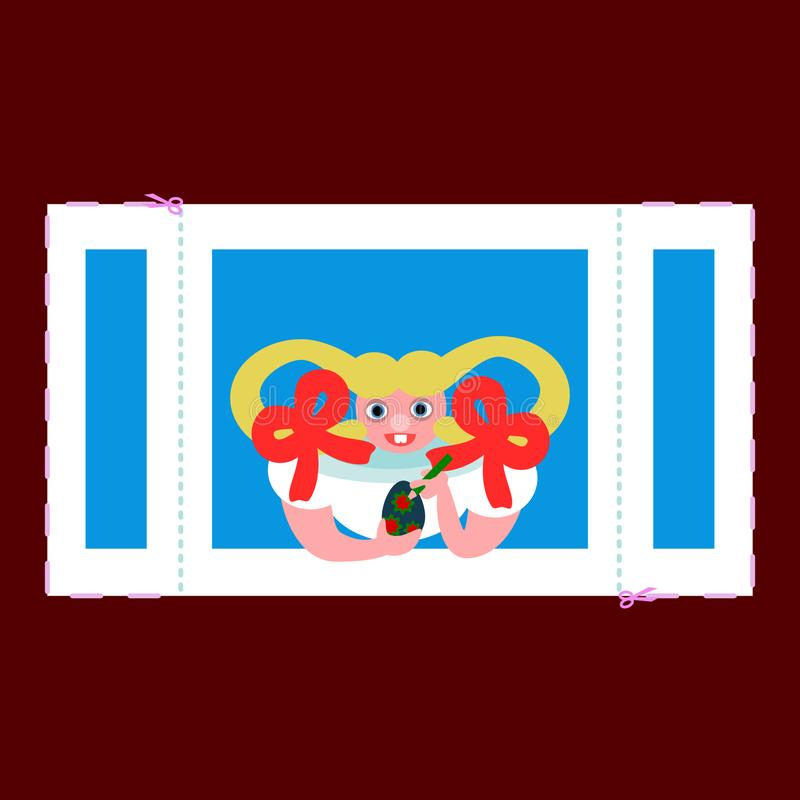 Вырез пасхи - жизнерадостное яичко картины девушки в окне иллюстрация штока