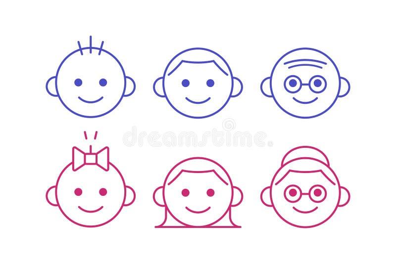 Выровняйте значки людей различных времен, от младенца к старшему, мужчины и женщины Милый и простой набор значка изолированный на иллюстрация вектора