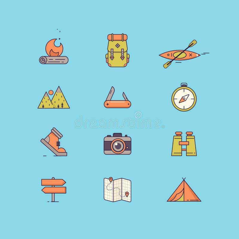 Выровняйте значки с плоскими элементами дизайна воссоздания туризма выживания, внешнего располагаться лагерем, перемещения и кани иллюстрация вектора