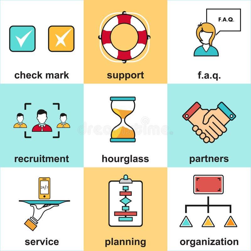 Выровняйте значки с плоскими элементами дизайна обслуживания клиента, поддержки клиента, руководства бизнесом успеха иллюстрация вектора