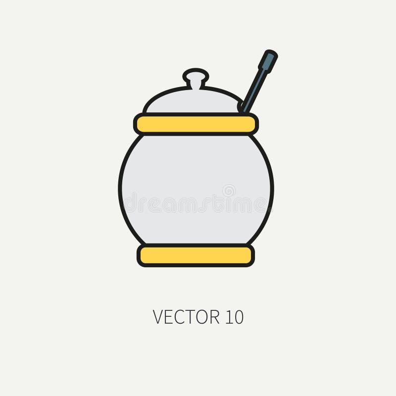 Выровняйте плоские значки kitchenware вектора цвета - сахар-шар Инструменты столового прибора Тип шаржа Иллюстрация и элемент для иллюстрация вектора