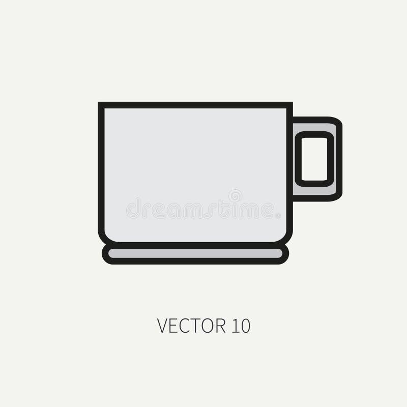 Выровняйте плоские значки kitchenware вектора цвета - чашку Инструменты столового прибора Тип шаржа Иллюстрация и элемент для ваш иллюстрация штока