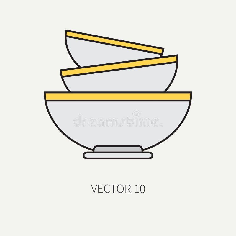 Выровняйте плоские значки kitchenware вектора цвета - шар, блюдо Инструменты столового прибора Тип шаржа Иллюстрация и элемент дл иллюстрация вектора
