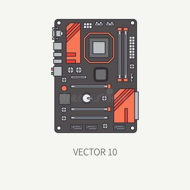Выровняйте плоскую материнскую плату значка части компьютера вектора цвета шарж Прибор настольного компьютера игры цифров и ПК оф бесплатная иллюстрация