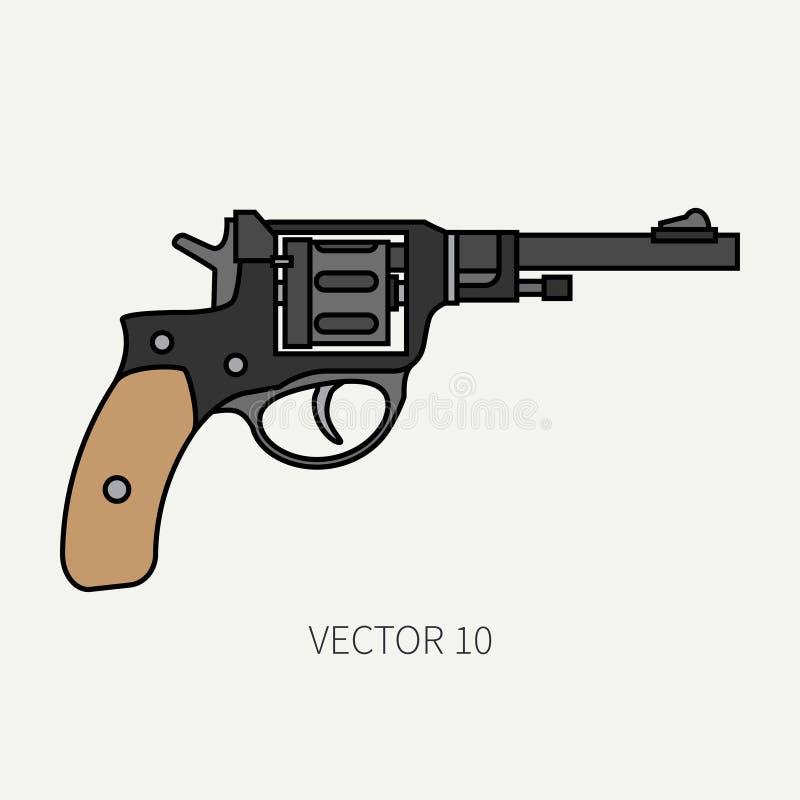 Выровняйте револьвер значка плоского вектора цвета воинский, пистолет Оборудование и вооружение армии Легендарное ретро оружие ша иллюстрация вектора
