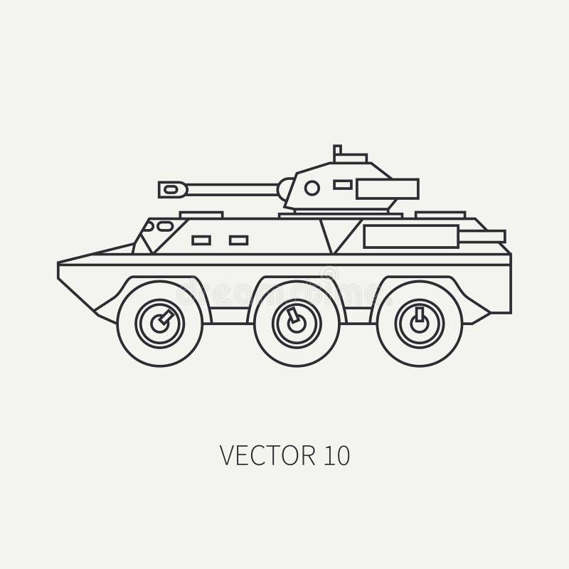Выровняйте тележку армии штурма пехоты значка вектора плоской равнины armored Военное транспортное средство Стиль шаржа винтажный бесплатная иллюстрация