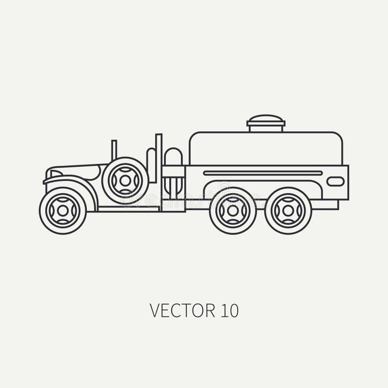 Выровняйте тележку армии refueller обслуживающего персонала значка вектора плоской равнины Военное транспортное средство Стиль ша иллюстрация штока
