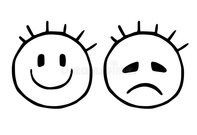Выровняйте унылый и жизнерадостный smiley, значки смайликов, стилизованную усмехаясь сторону и унылую сторону Emoji стоковое изображение