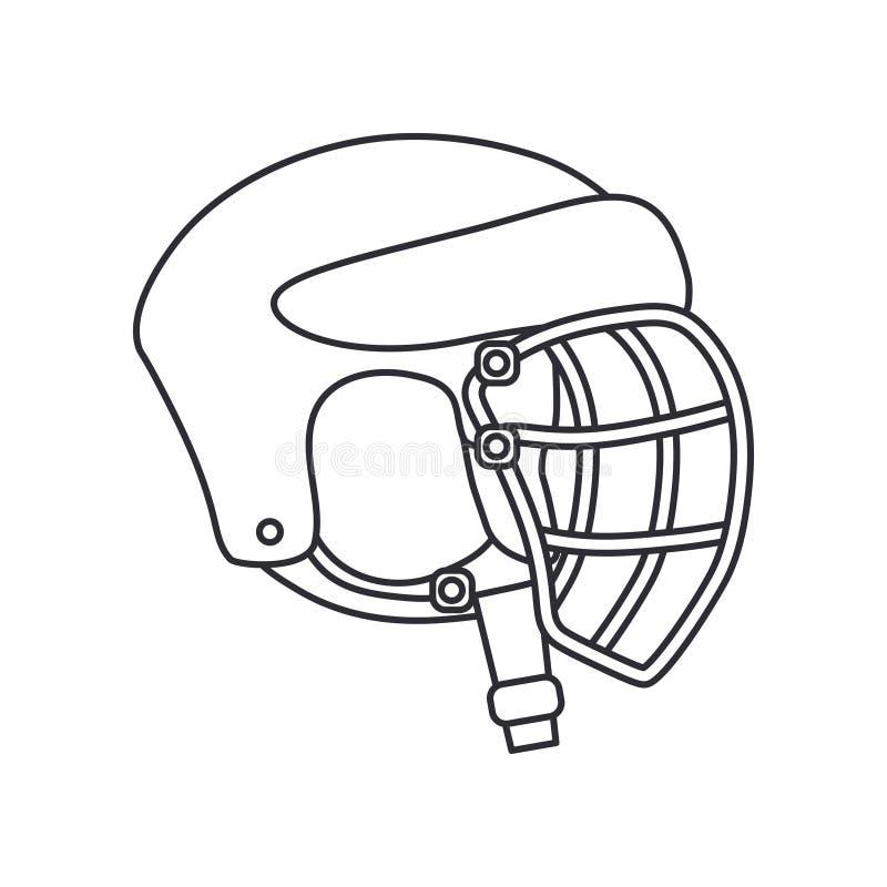 Выровняйте хоккей значка вектора, рэгби, шлем обороны бейсбола Символ успеха оборудования спорта Головная защита athirst иллюстрация вектора