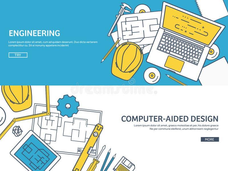 Выровнянный, иллюстрация вектора плана Инженерство и архитектура Программное обеспечение тетради Рисуя конструкция architrave бесплатная иллюстрация