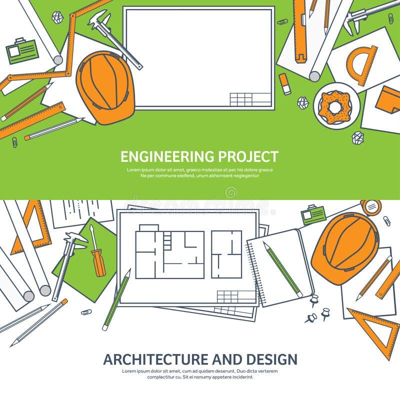 Выровнянный, иллюстрация вектора плана Инженерство и архитектура Программное обеспечение тетради Рисуя конструкция architrave иллюстрация вектора