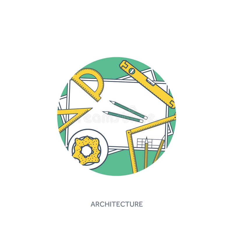 Выровнянный, иллюстрация вектора плана Инженерство и архитектура Программное обеспечение тетради Рисуя конструкция architrave иллюстрация штока
